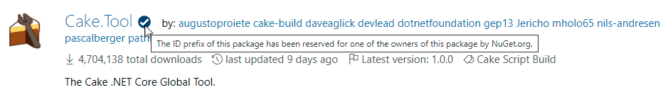 Cake package visual indicator on NuGet Gallery